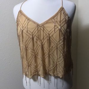 NWT Free People Mango Cream Gatsby Fringe Tank Top